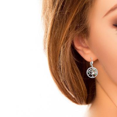 Tree of Life Earrings Sterling Silver CZ - S34025-model