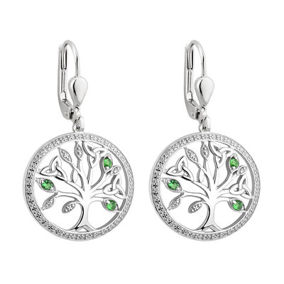 Tree of Life Earrings Sterling Silver CZ - S34025