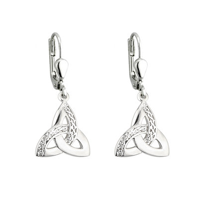 Trinity Knot Celtic Earrings - Sterling Silver - S33270