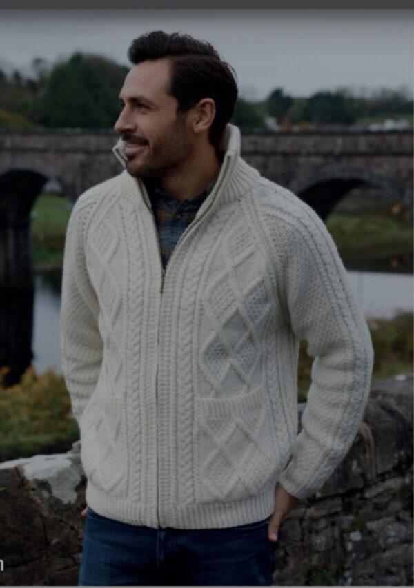 Men's Merino Wool Zipper Aran Cardigan – White - S156-669