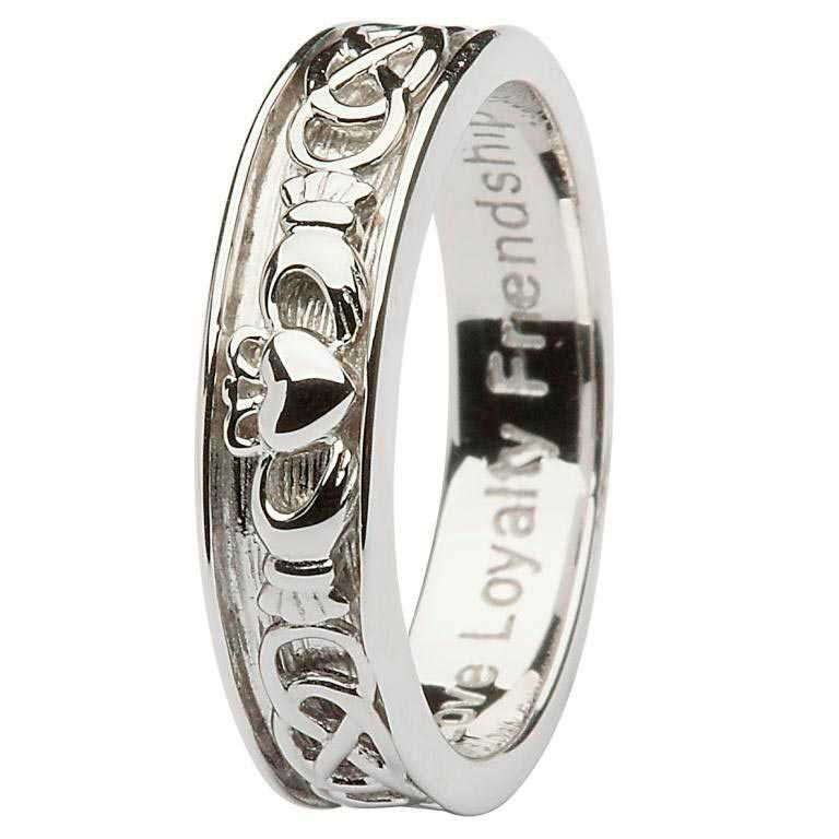 Gents Silver Claddagh Celtic Band - SD9
