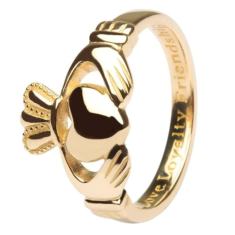 Ladies 14K Gold Claddagh Ring Comfort Fit -14L92