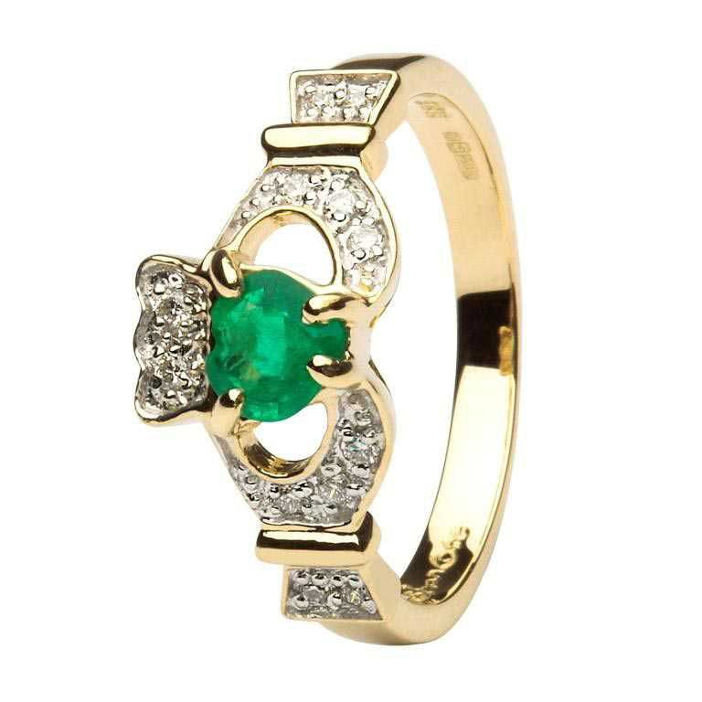 Ladies Claddagh Ring With Emerald And Diamond - 14k Yellow Gold - 14L68ED