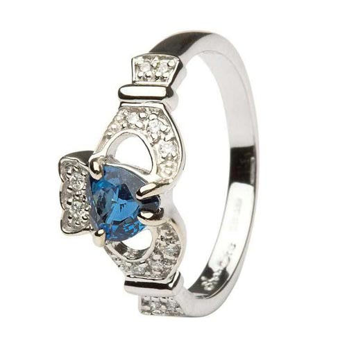 Ladies Claddagh Ring With Sapphire And Diamond - 14k White Gold - 14L68SW