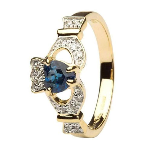 Ladies Claddagh Ring With Sapphire And Diamond - 14k Yellow Gold - 14L68SP