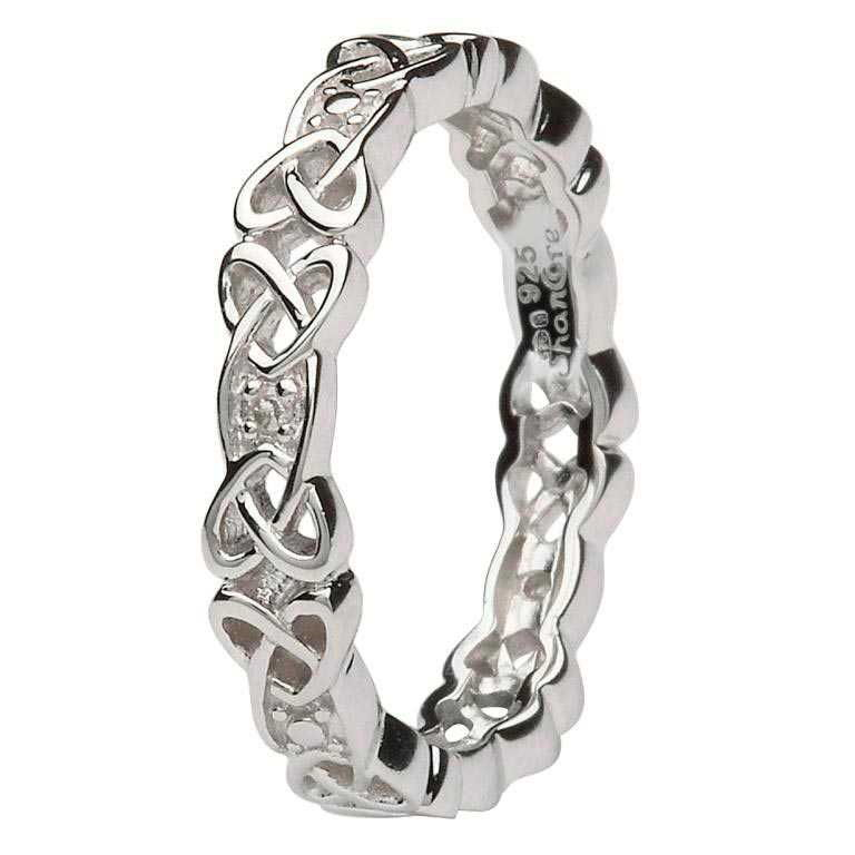 Ladies Silver Celtic Knot Stone Set Ring - SD12