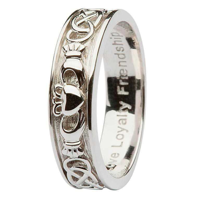 Ladies Silver Claddagh Celtic Band - SD8