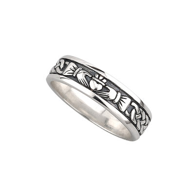 Ladies Silver Claddagh Oxidized Celtic Ring - S2829