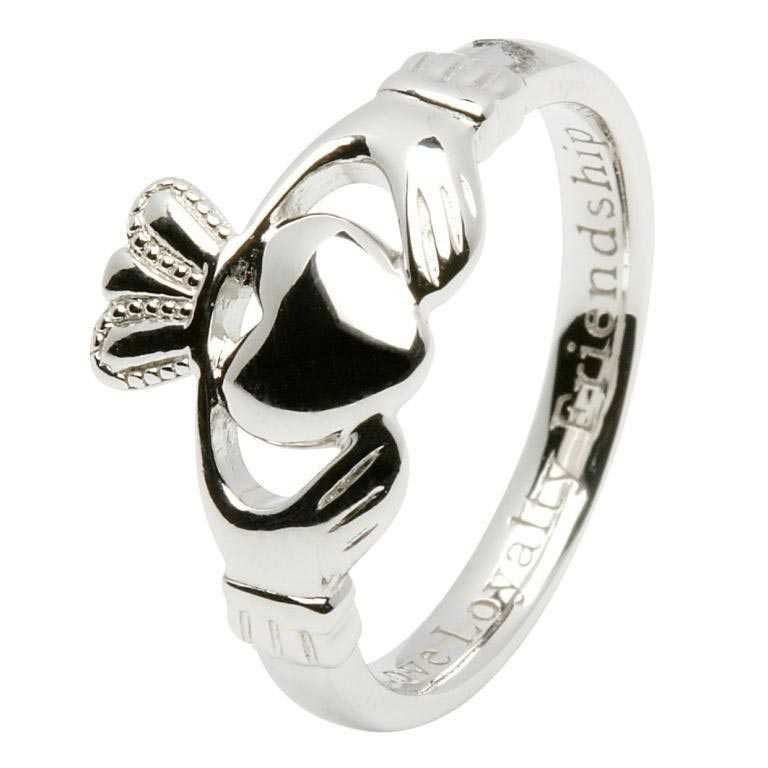 Ladies Silver Claddagh Ring Comfort Fit - SL92