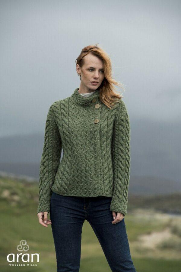 Ladies Super Soft Merino Wool 3 Button Cardigan - Meadow Green B840-430