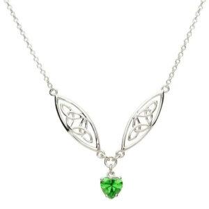 Silver Celtic Stone Set Trinity Necklace - SP2016GR