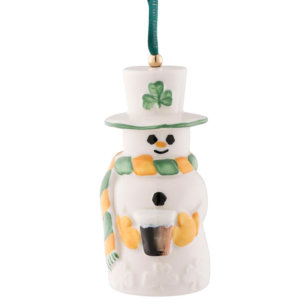 Belleek Classic Paddy Snowman Bell Ornament - 4675