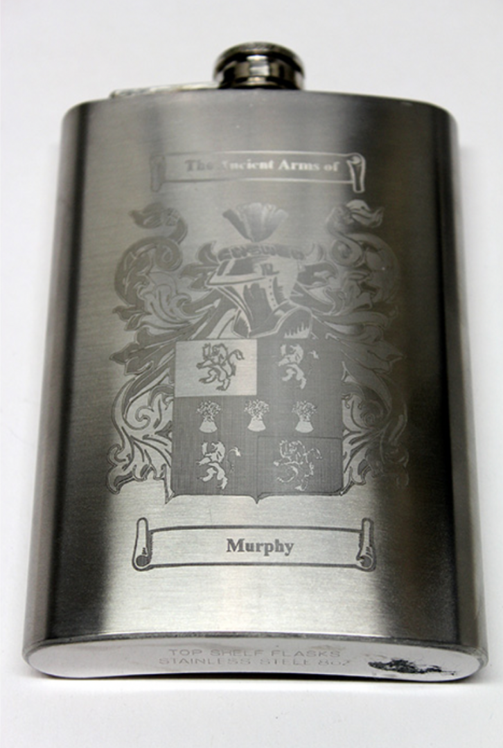 Family Crest Laser Engraved Hip Flask - 8oz