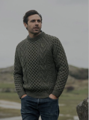 Traditional Hand Knit Merino Wool Aran Sweater- Green
