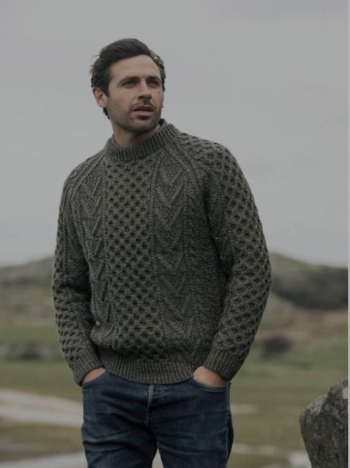 Traditional Hand Knit Merino Wool Aran Sweater- Green