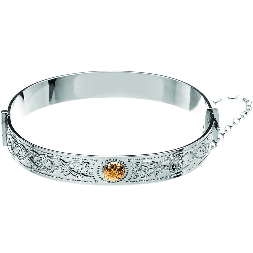 Celtic Warrior Shield Bangle with 18K Gold Bead- BCT44B-SILVER