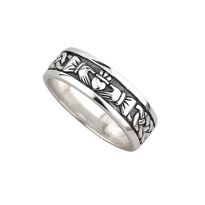 Men's Silver Claddagh Oxidized Celtic Band - S2828