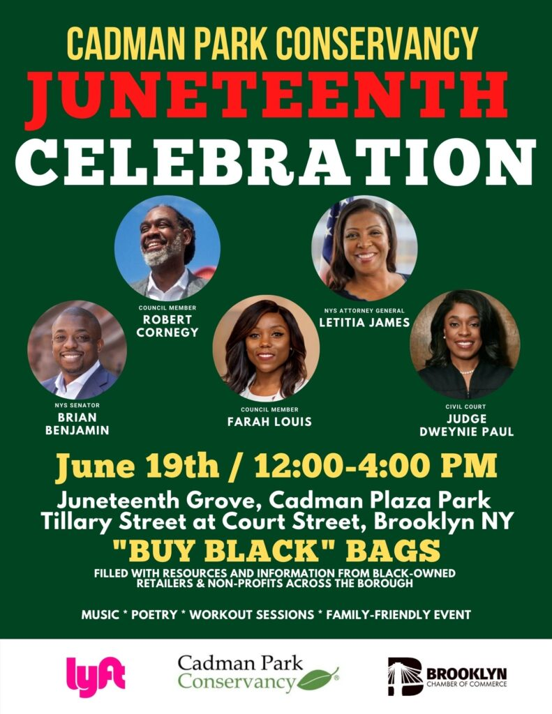 flyer with speaker names and announcement of JUNETEENTH Celebration on June 19th 2020 12-4pm