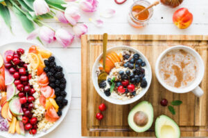 healthy bowl of breakfast with blueberries