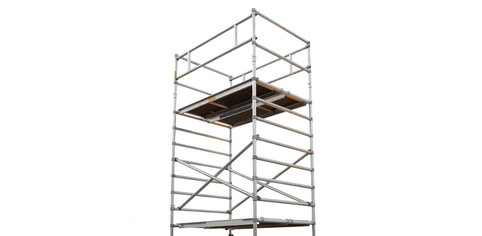 Mobile scaffold towers are useful high ceiling cleaning tools.