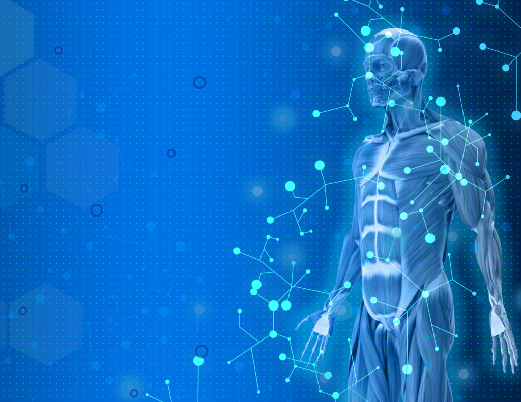 Human biofield illustration with points of light representing possible Zytoscan digital signatures.