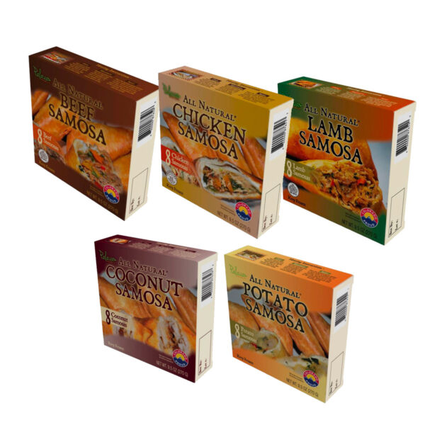 5 Pack (40 Samosas (up to 5 Flavors, 8-Count each) and 5 chutney sauces)