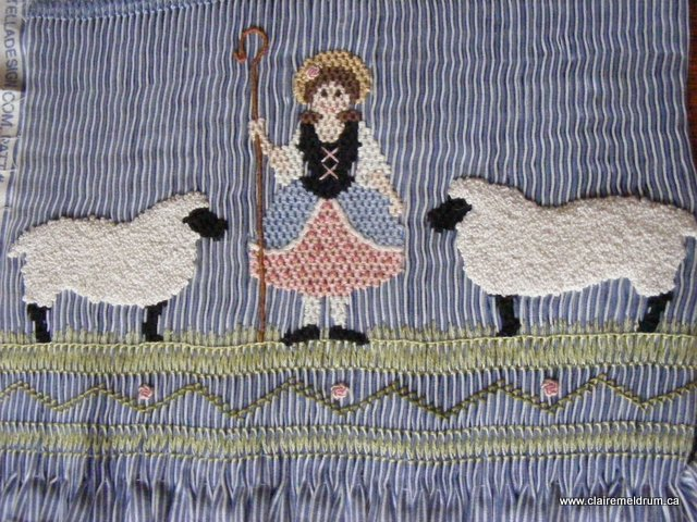 Little Bo Peep smocked detail 1