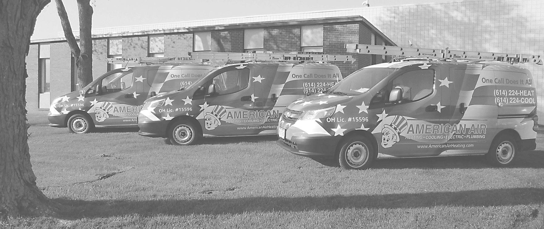 fleet of three american air work vans