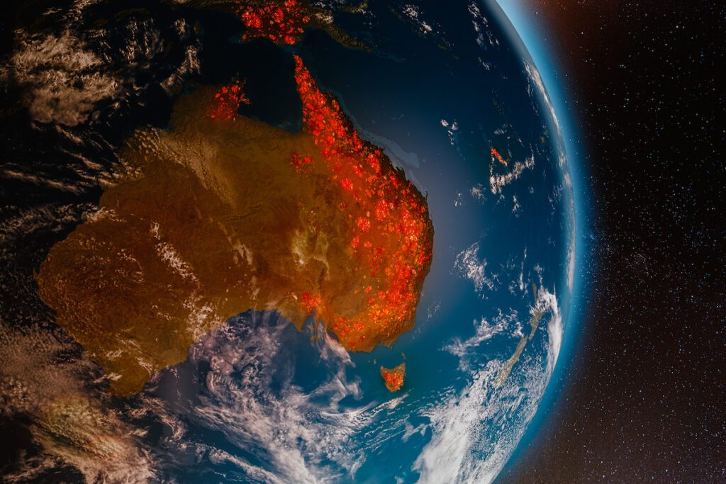 Aerial view from space of ecological fire disaster in Australia