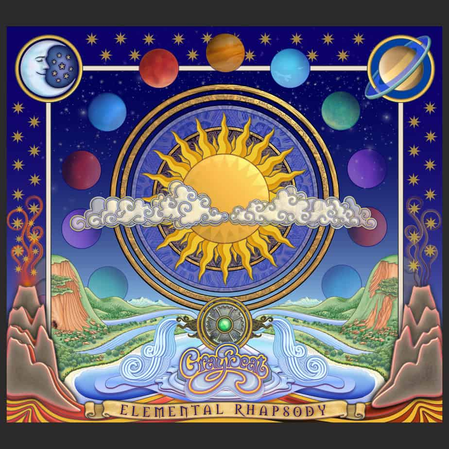 """Cover for Elemental Rhapsody: A cosmic menagerie of elements. There's earth, fire, water and air. The sun shines bright in the middle, slightly osbcured by swirling clouds. A fountain of water flows from an emblem bearing """"GrayBeat"""". Elemental Rhapsody appears below in words on a scroll. Volcanoes, one dormant, one active, flank the scene. Stars and planets overhead. The moon & Saturn in the upper corners. Wonderful artwork."""