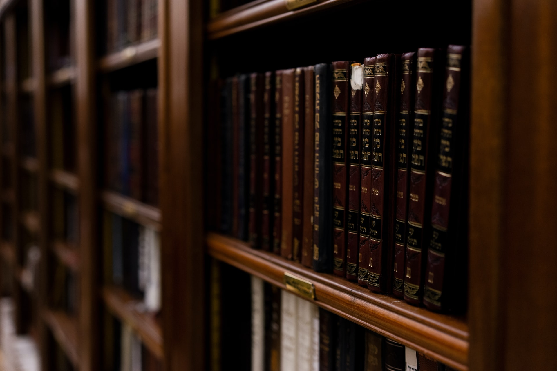 Close up photo of bookshelf lined with law books
