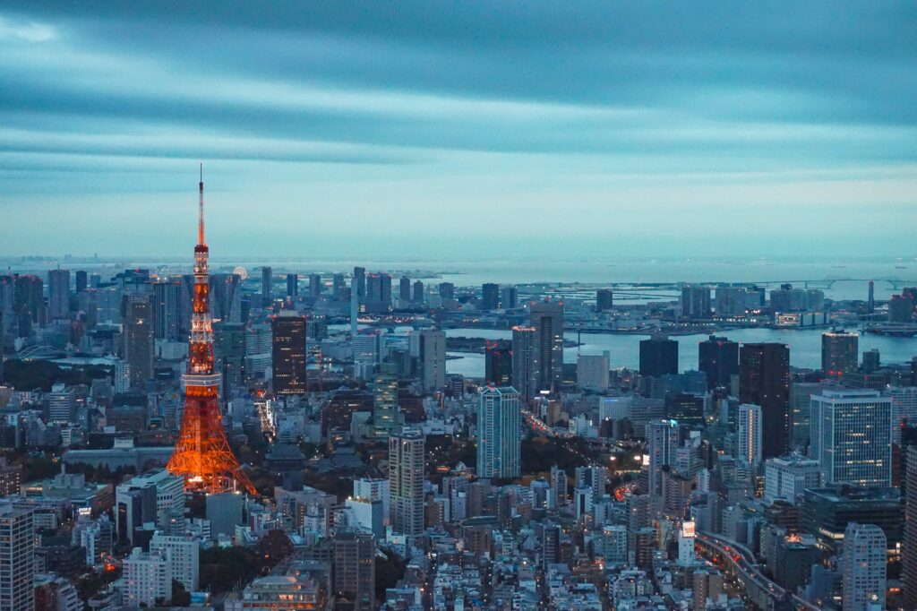 Ariel photo of Tokyo tower and surrounding buildings