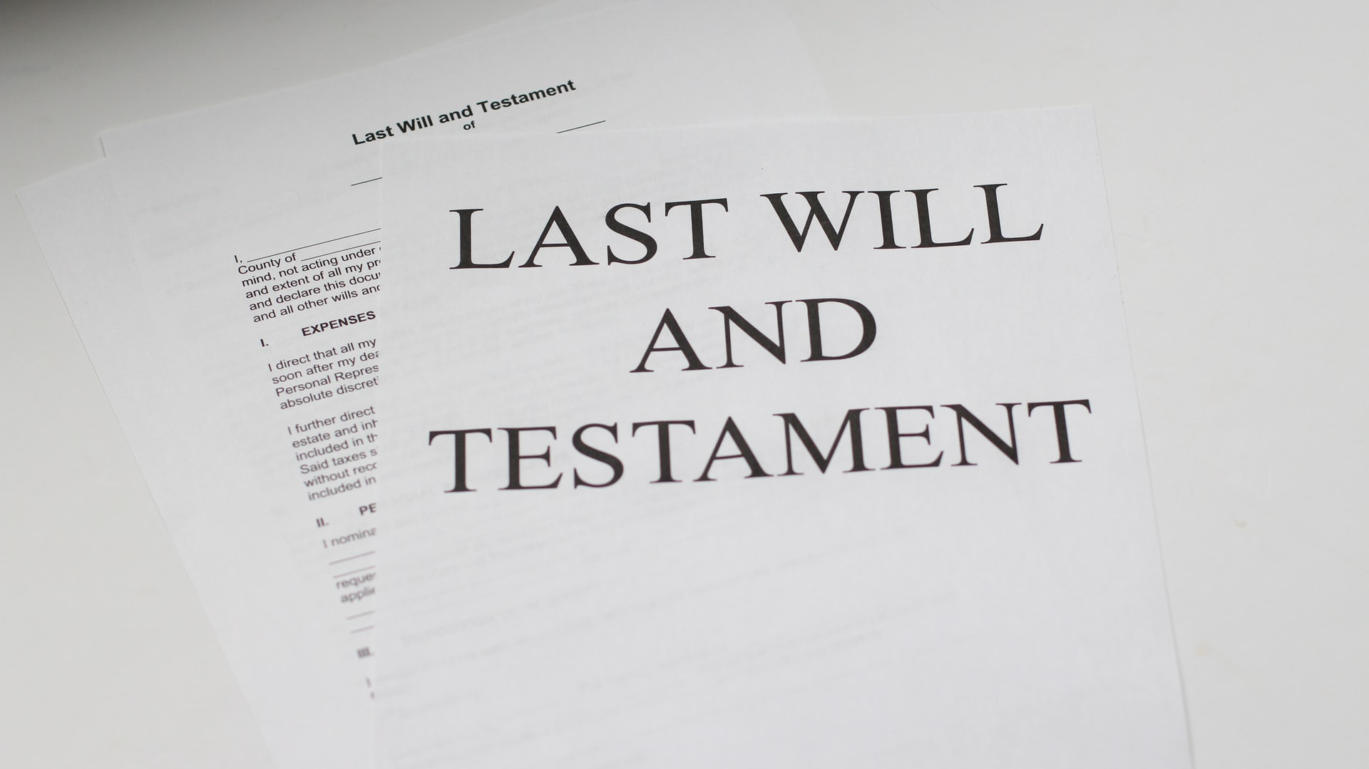 Photo of Last Will and Testament papers