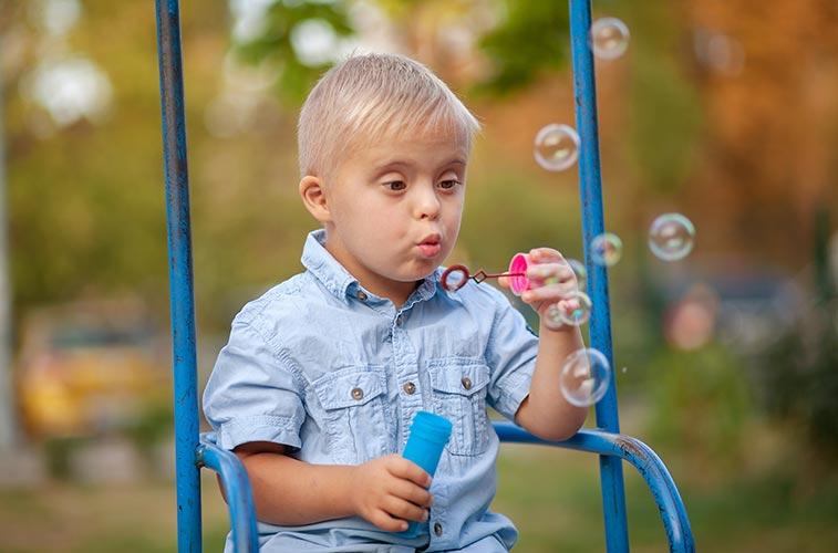 Having fun blowing bubbles