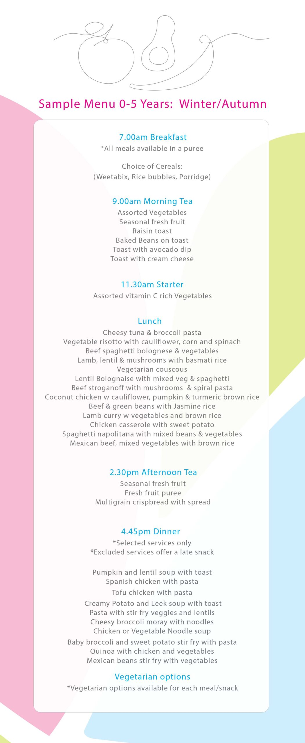 Active Kids Group | Active Kids Group Sample Menu Overview large scaled |