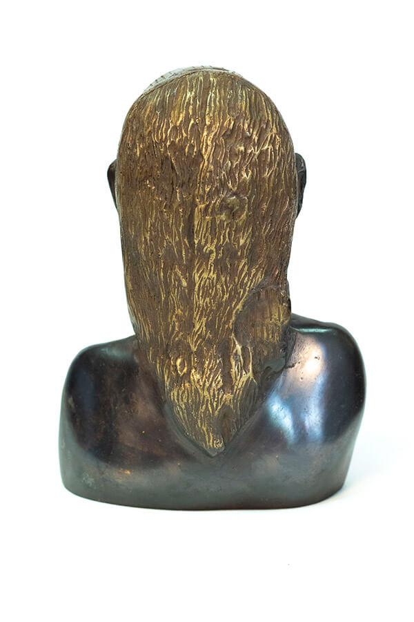 bronze bust, african maasai warrior, back