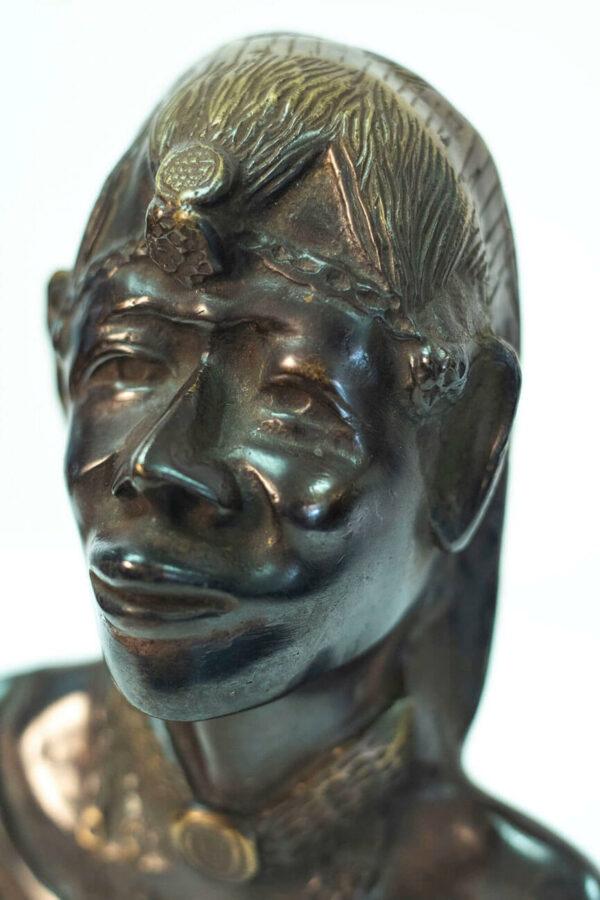 bronze bust, african maasai warrior, closeup