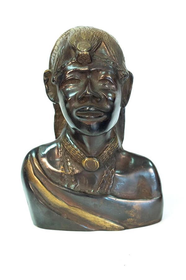 bronze bust, african maasai warrior, front