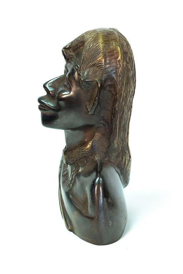 bronze bust, african maasai warrior, left