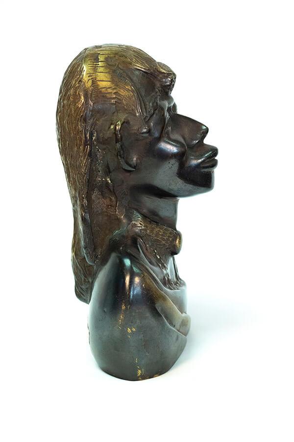 bronze bust, african maasai warrior, right