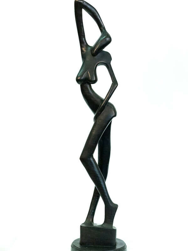 wood carving, stylistic rendering of woman posing, front