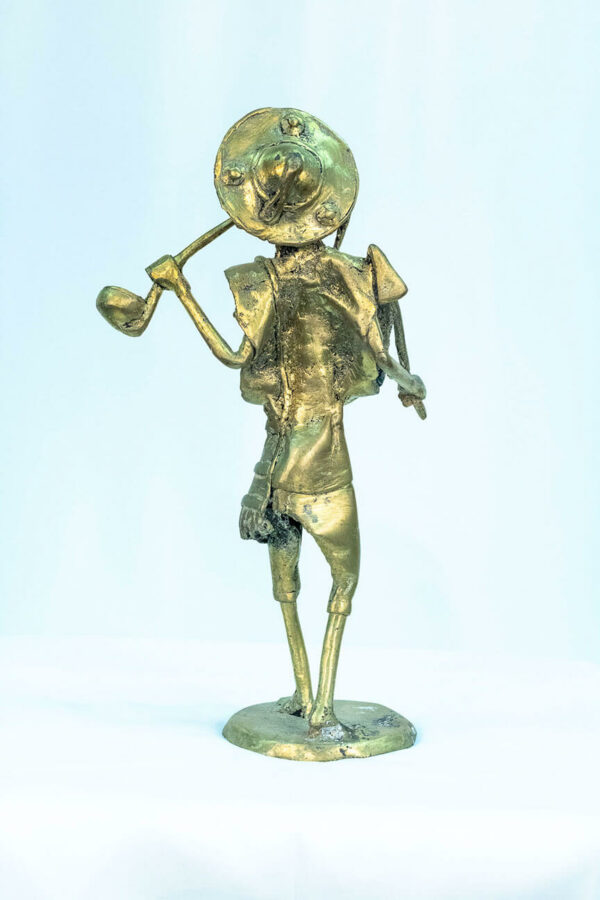 figurine, brass man with pipe, back