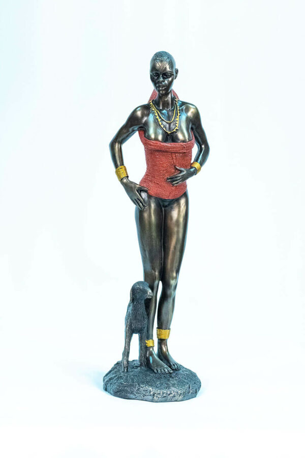 figurine, dinka lady with lamb, front