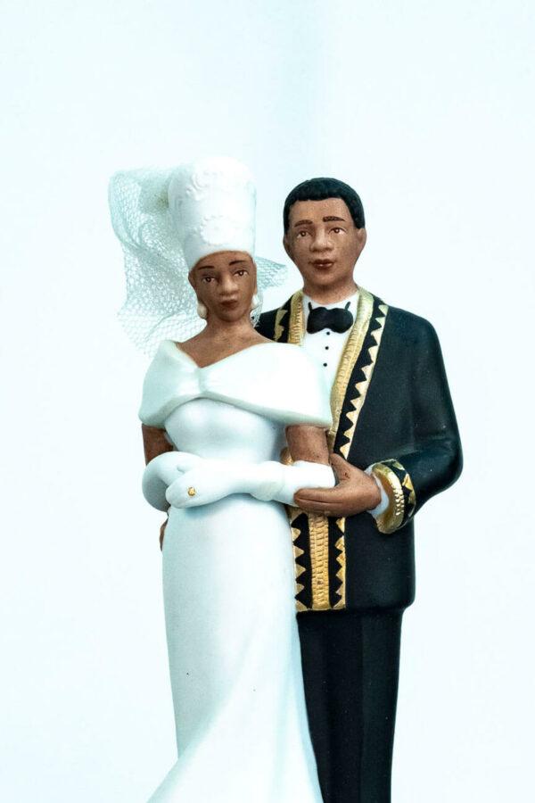 elegant wedding couple figurine, closeup