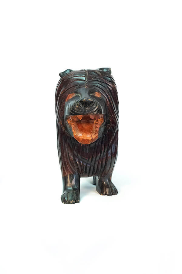 wood carving of lion, front
