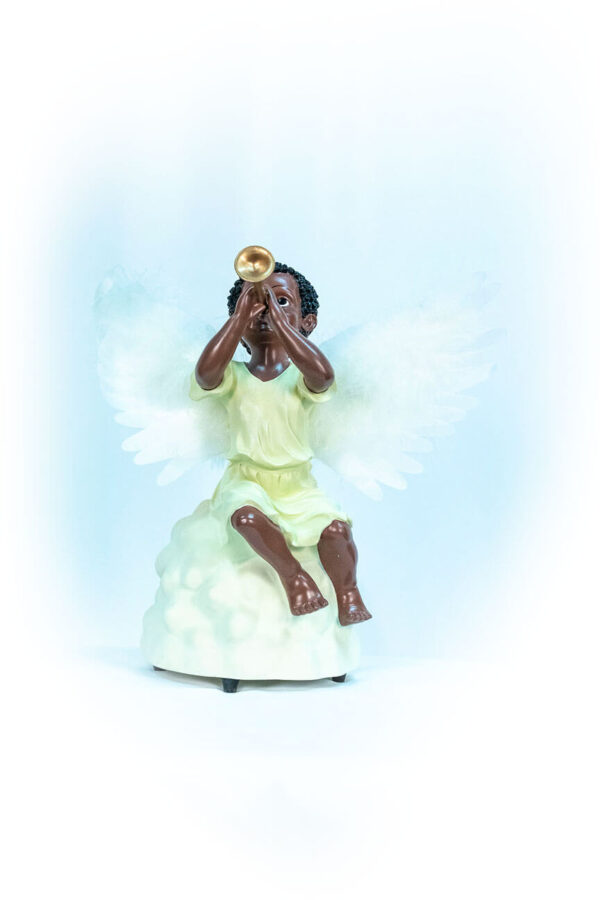 figurine, angel sitting on rock blowing horn, front