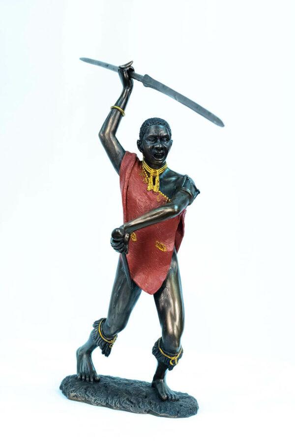 figurine, meru warrior throwing spear, front