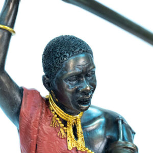 figurine, meru warrior throwing spear, closeup
