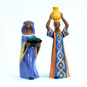 Nairobi women salt and pepper shakers, front view