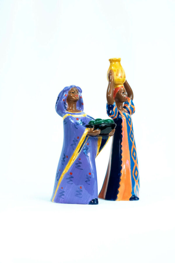 Nairobi women salt and pepper shakers, right side view